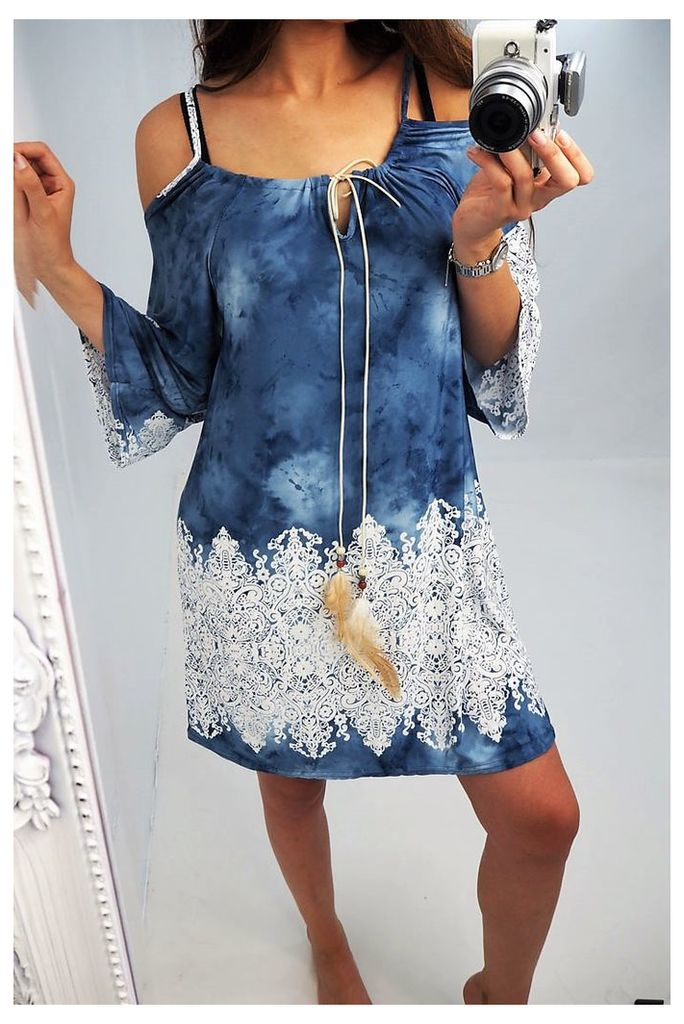 Clio denim tie dye floral hem flared sleeve dress