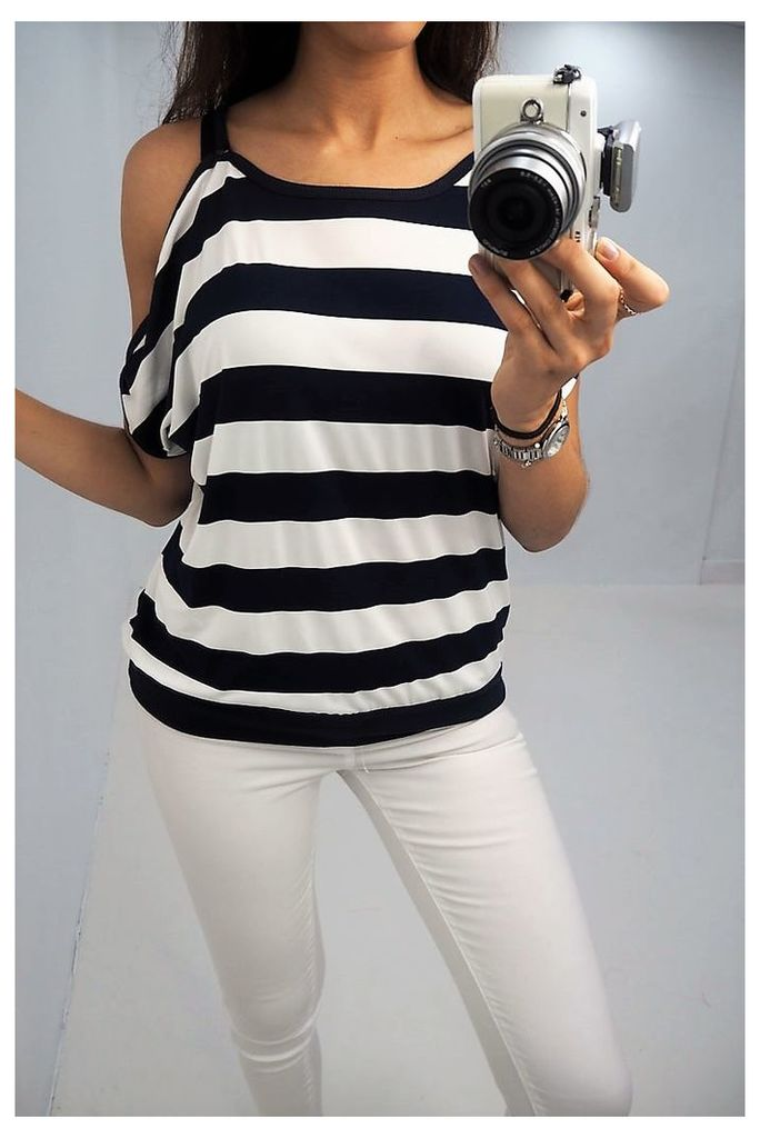 Tilda stripe print cold shoulder top