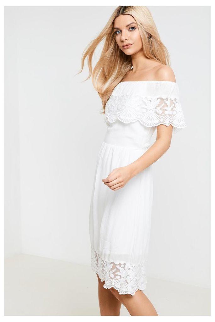 Vila Off The Shoulder Lace Dress - White