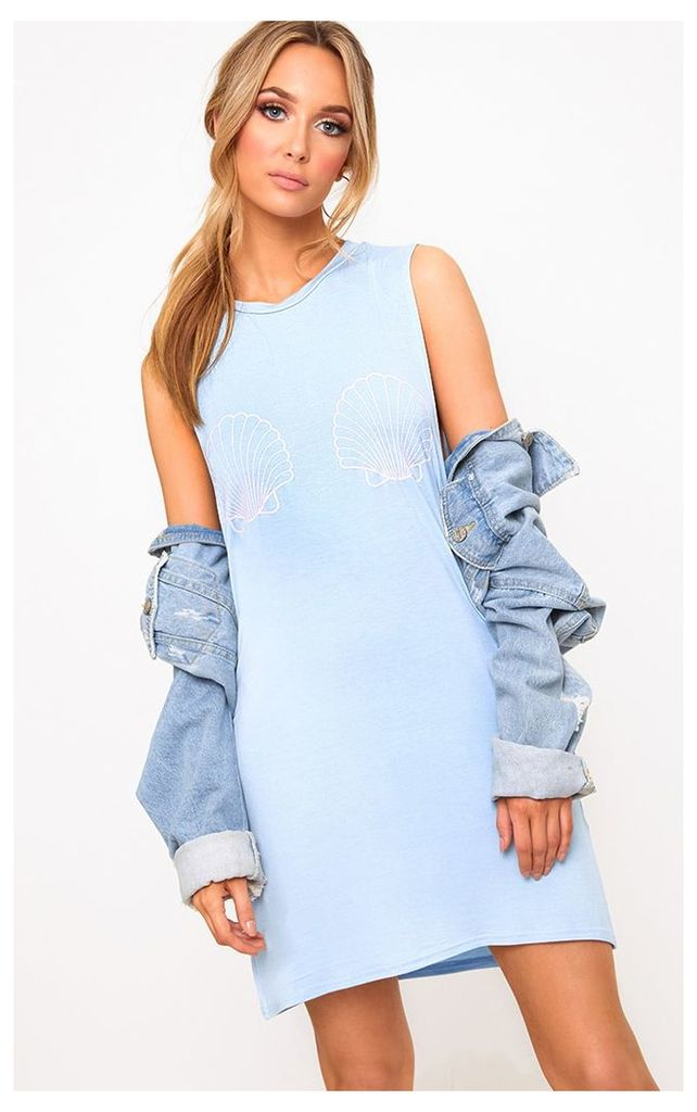 Powder Blue Shell Sleeveless T Shirt Dress
