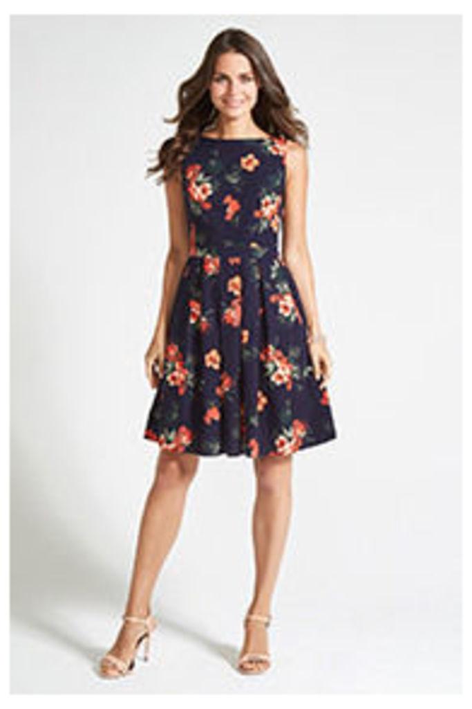 Navy Hibiscus Sprig Dress