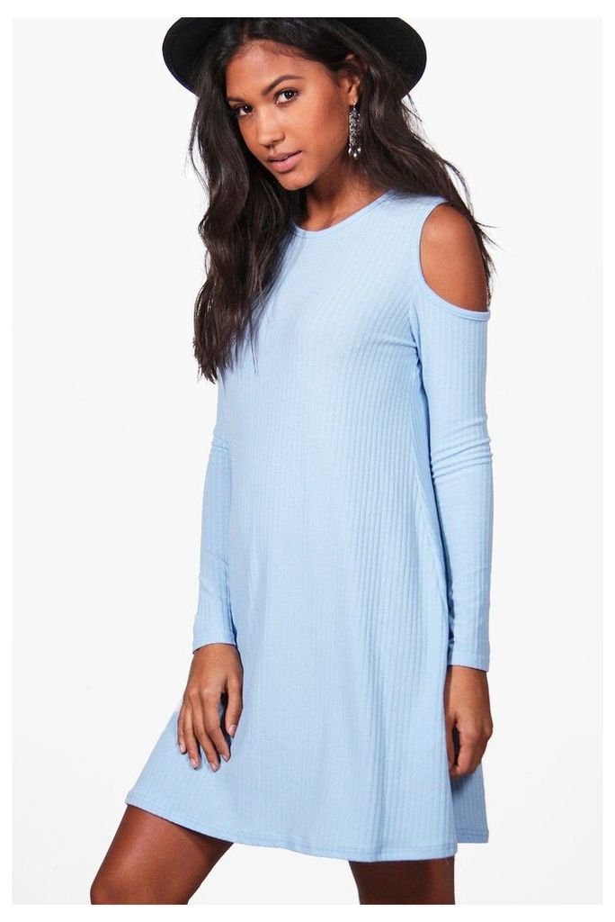Cold Shoulder Soft Knit Rib Swing Dress - bluebell