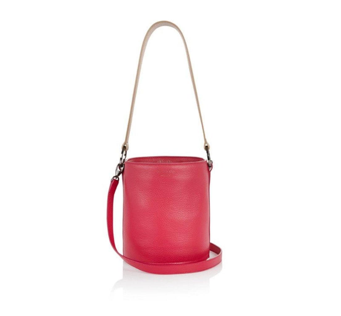 Santina Large Bucket Bag Bordeaux Light Tan Swing Strap