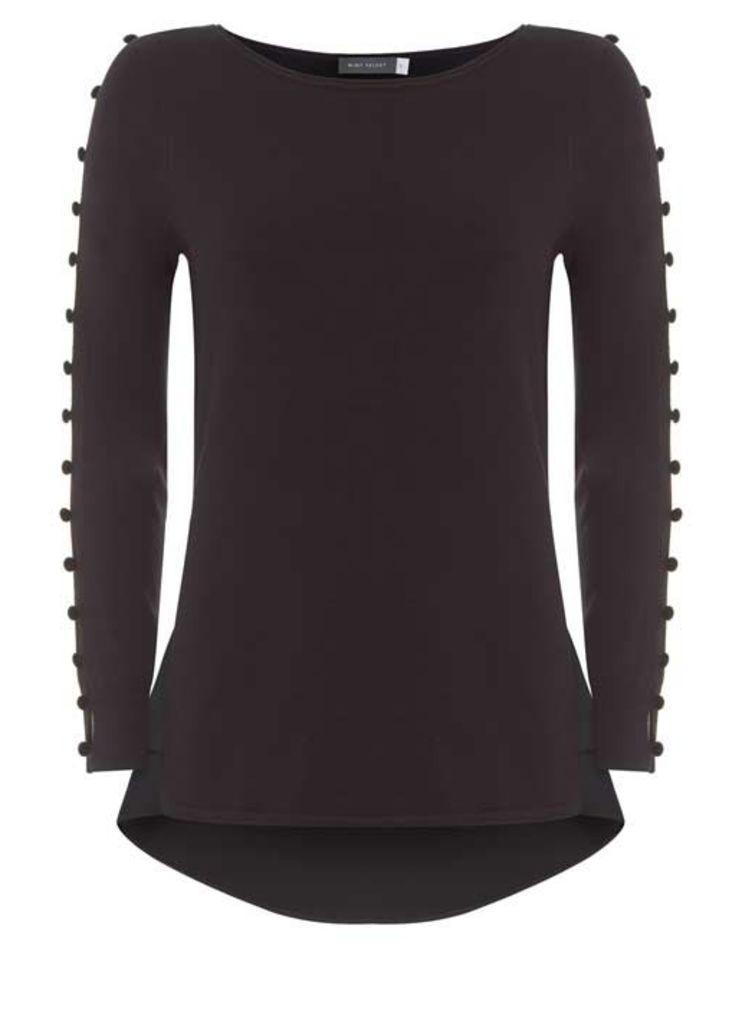 Black Velvet Button Knit