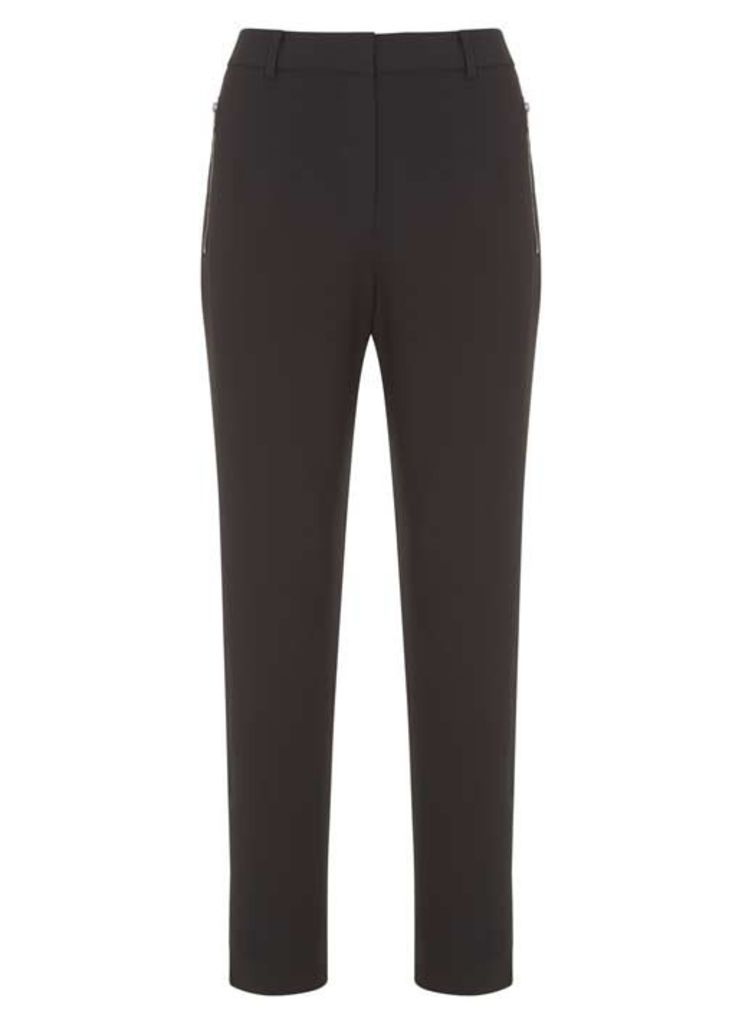 Black & Khaki Stripe Luxe Zip Pant