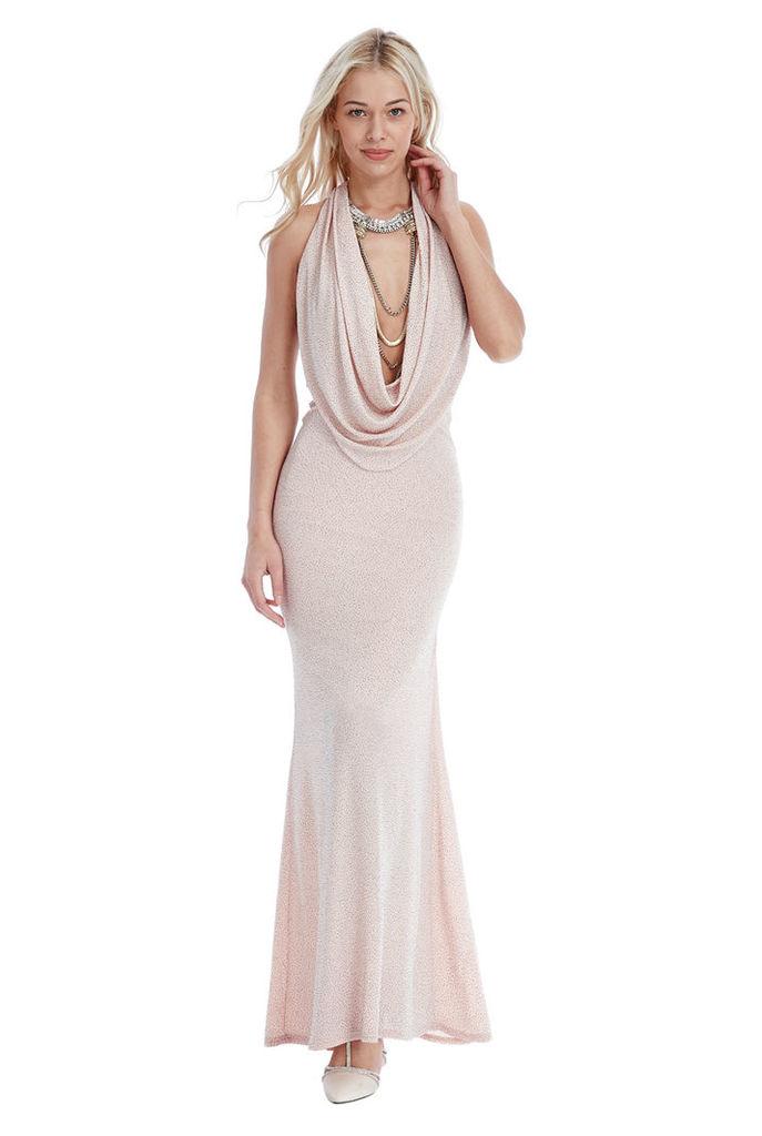 Glitter Cowl Neck Maxi Dress - Nude