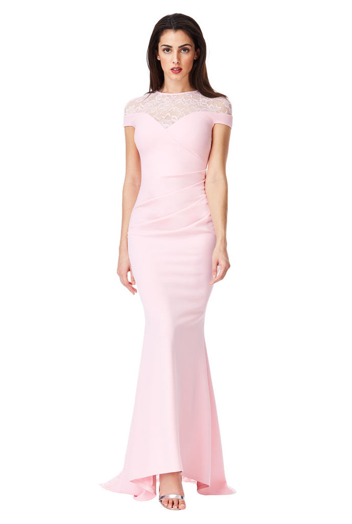Pleated Maxi Dress with Lace Detail - Pink