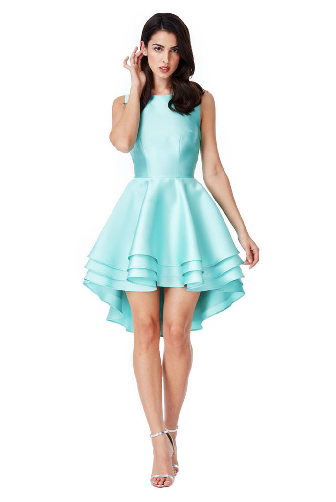 Multilayered Sleeveless Skater Dress - Aqua