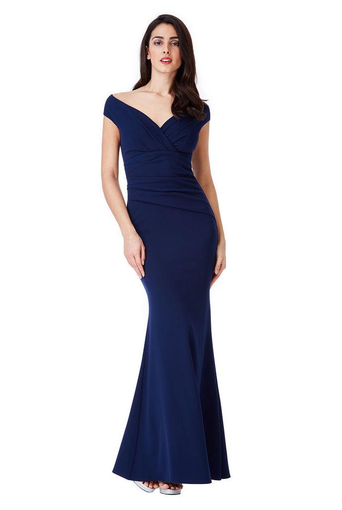 Bardot Pleated Maxi Dress - Navy