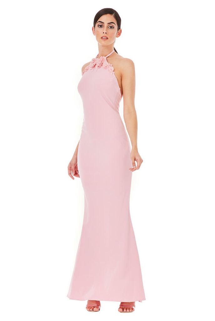 Halter Neck Maxi Dress with Flower Detail - Pink