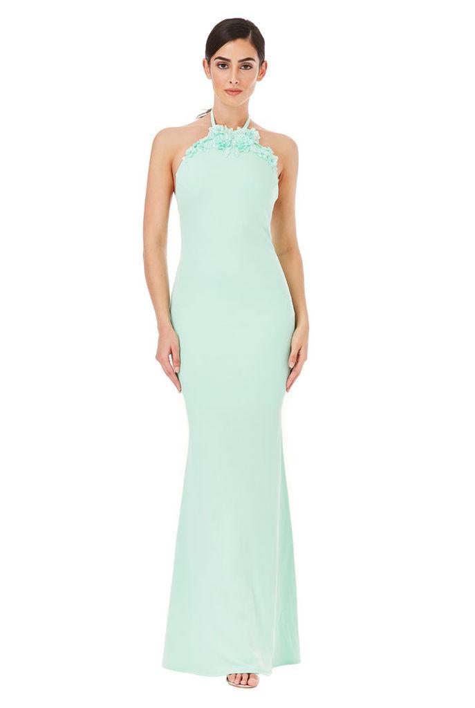 Halter Neck Maxi Dress with Flower Detail - Mint