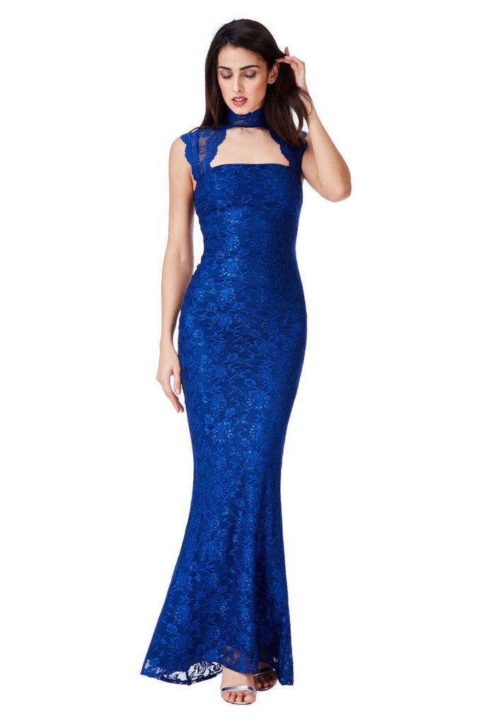 High Neck Cut Out Lace Maxi Dress - Royal Blue