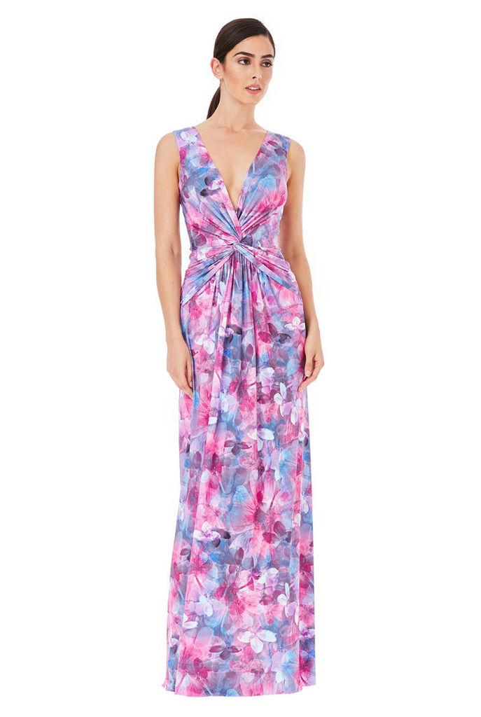 Deep V Knotted Front Printed Maxi Dress - Ceriseprint