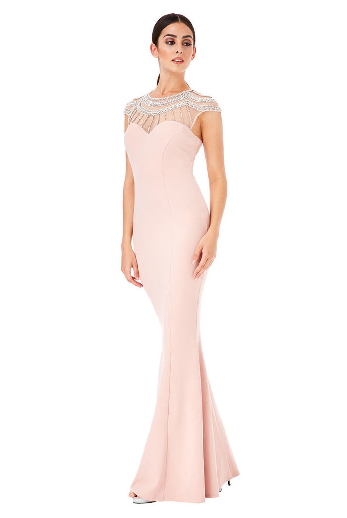 Embellished Fishtail Maxi Dress - Blush