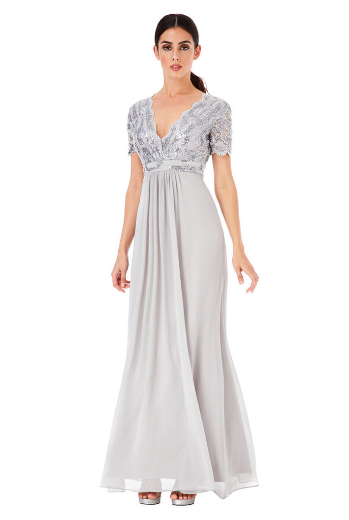 Sequin Chiffon Maxi Dress - Silver