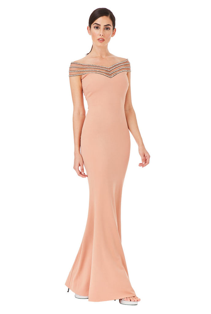 Embellished Neckline Maxi Dress - Nude