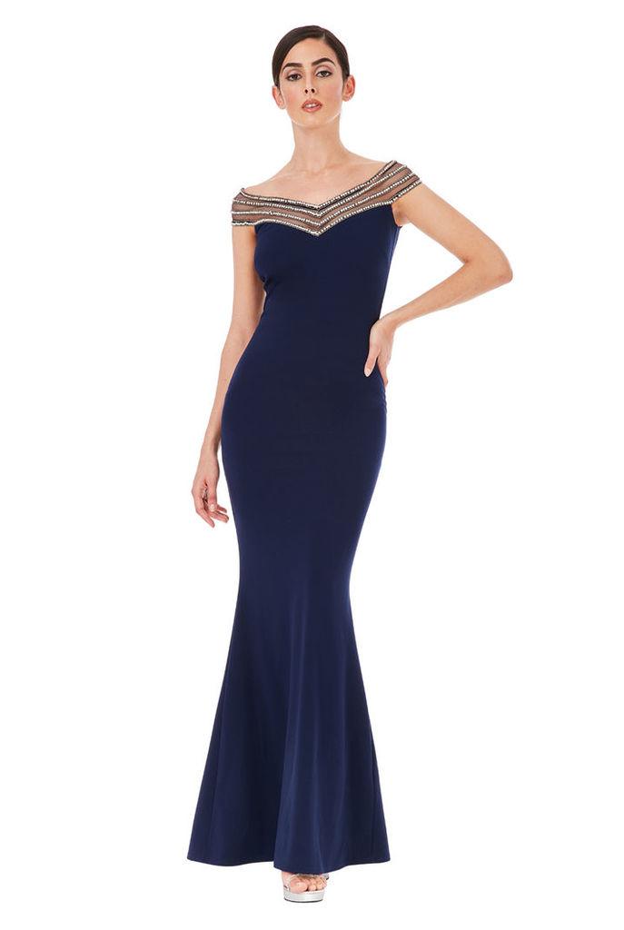 Embellished Neckline Maxi Dress - Navy