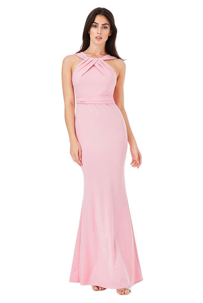 Pleated Neckline Maxi Dress - Pink
