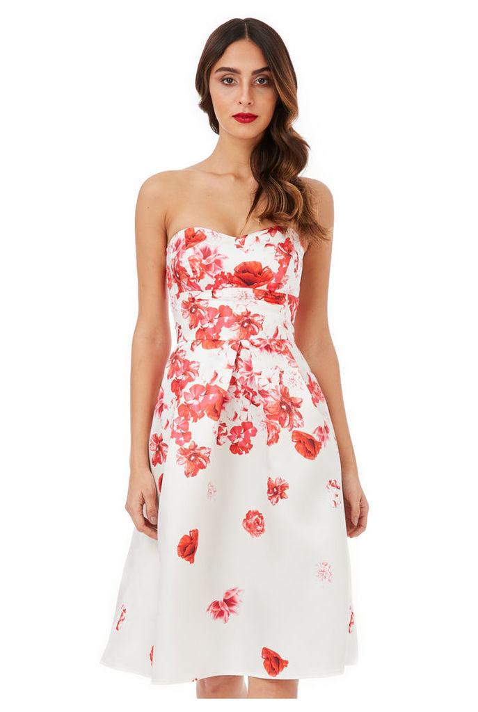 Cascading Floral Print Midi Dress - Cream