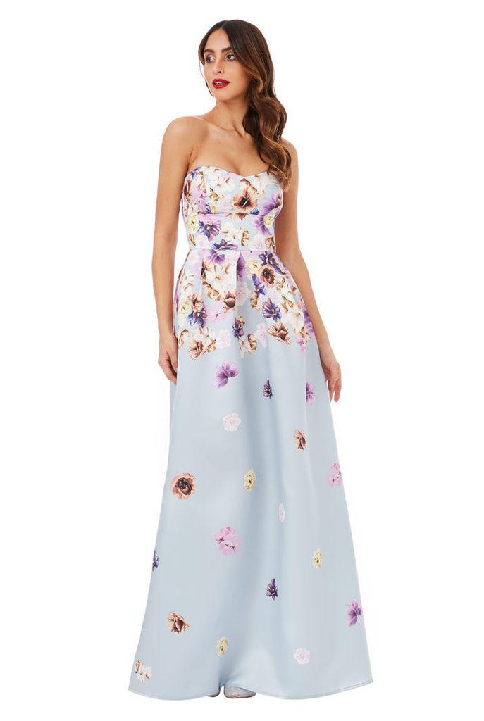 Cascading Floral Print Maxi Dress - Grey