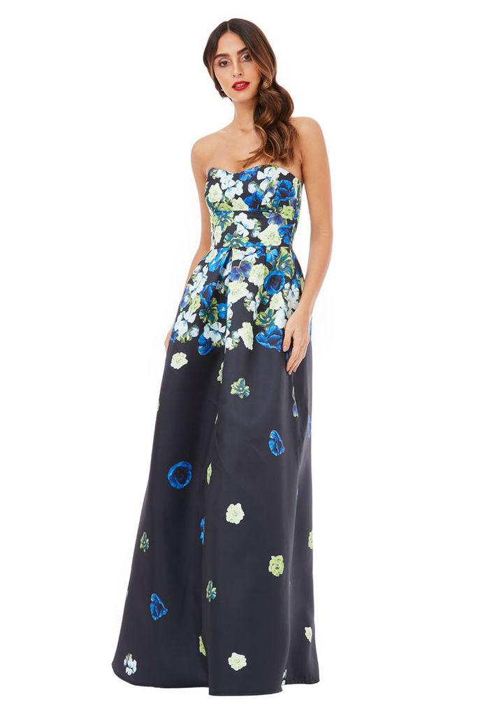 Cascading Floral Print Maxi Dress - Navy