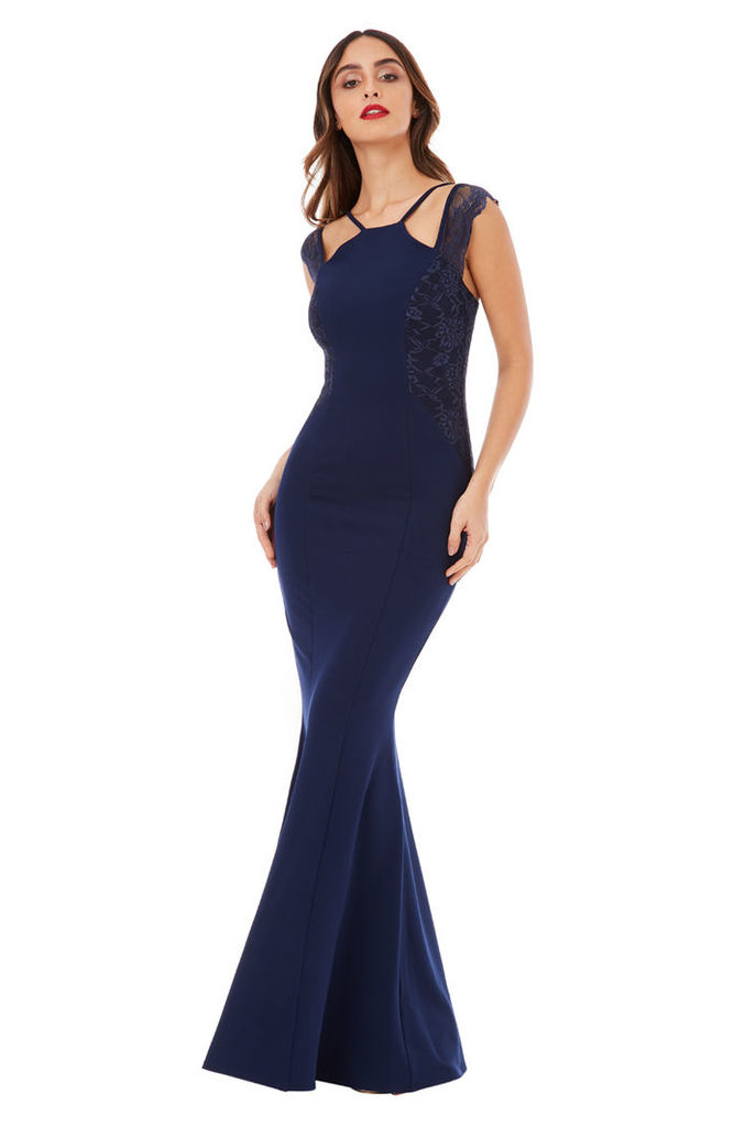 Sleeveless Maxi Dress with Lace Detail - Navy