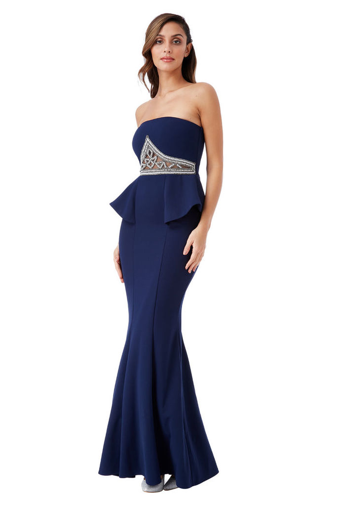 Strapless Embellished Peplum Maxi Dress - Navy