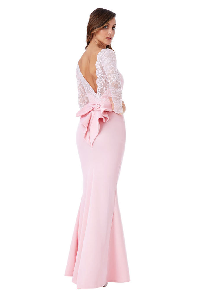 Open Back Lace Maxi Dress with Bow Detail - Pink