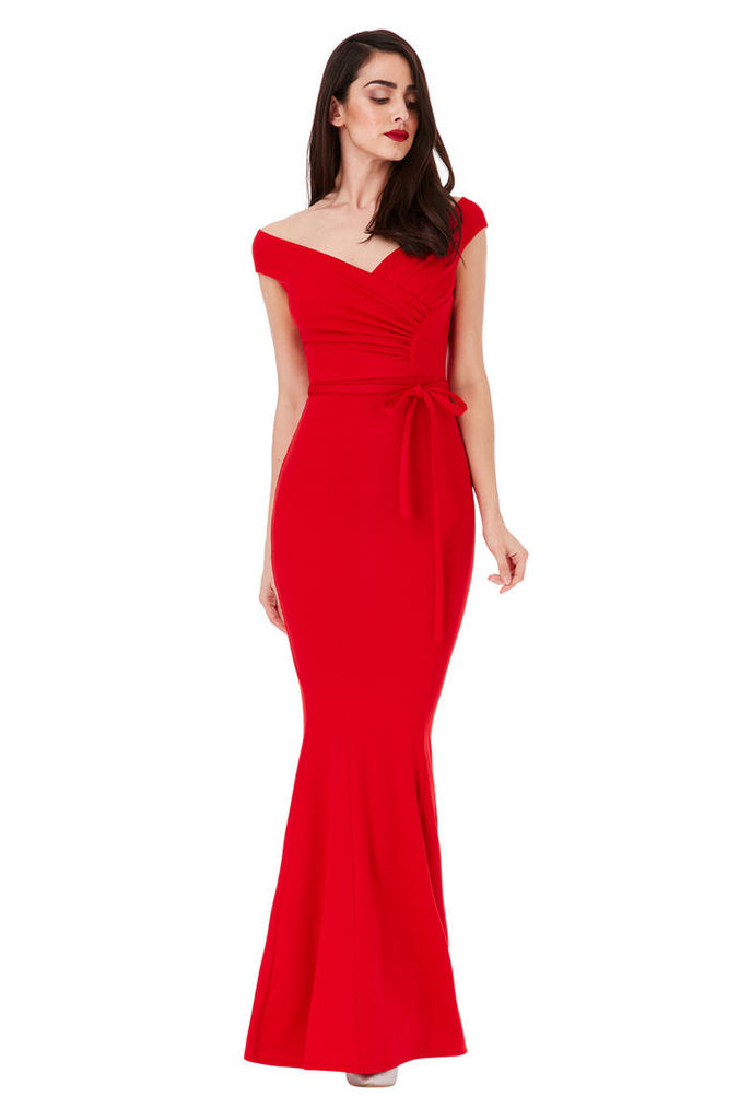 Pleated Maxi Dress with Tie Detail - Red