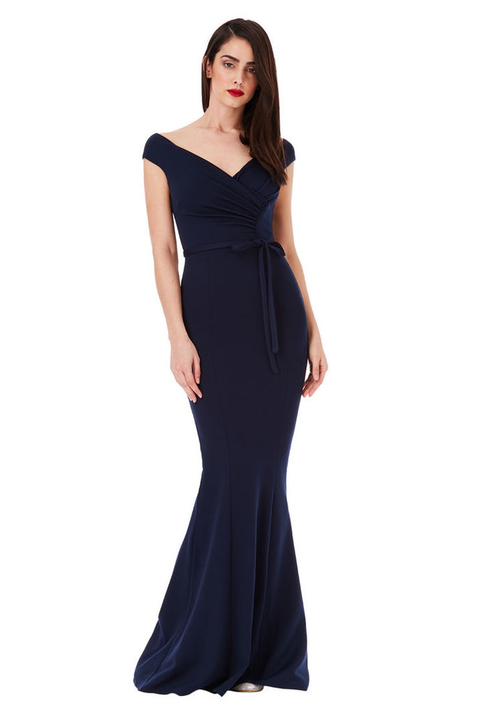 Pleated Maxi Dress with Tie Detail - Navy