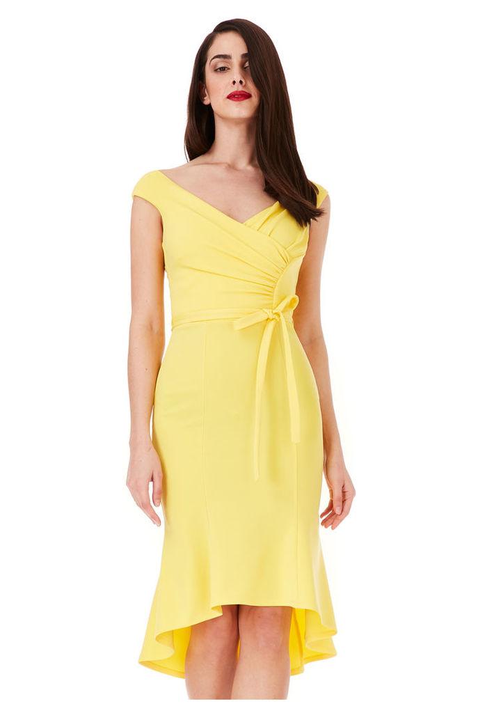 Pleated Midi Dress with Tie Detail - Lemon