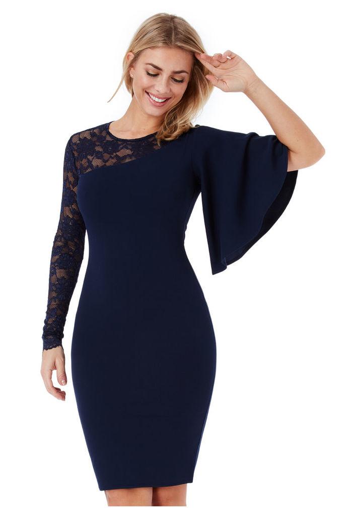 Asymmetric Sleeve Midi Dress with Lace Detail - Navy