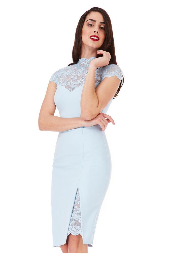 High Neck Lace Midi Dress with Split Detail - Powderblue