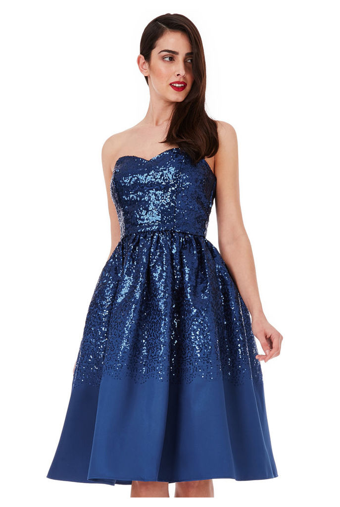 Sweetheart Neckline Sequin Midi Dress - Navy