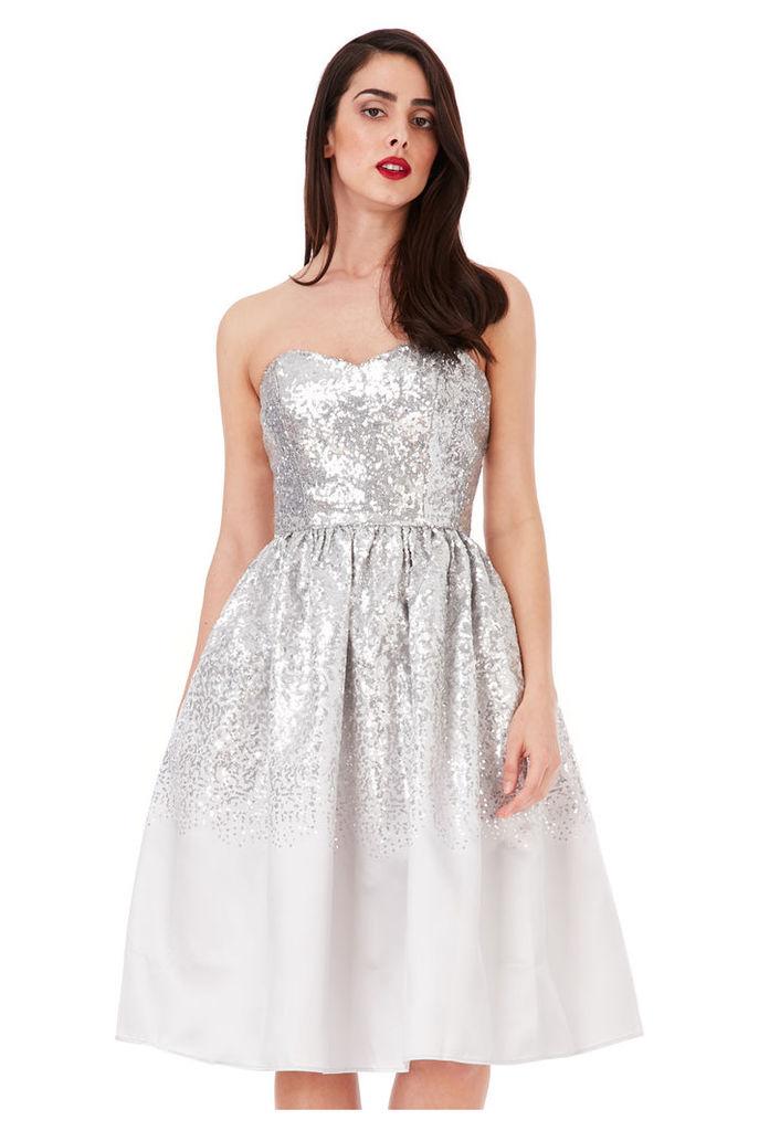 Sweetheart Neckline Sequin Midi Dress - Silver