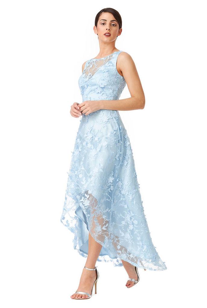 Floral Lace Asymmetric Dress - Lightblue