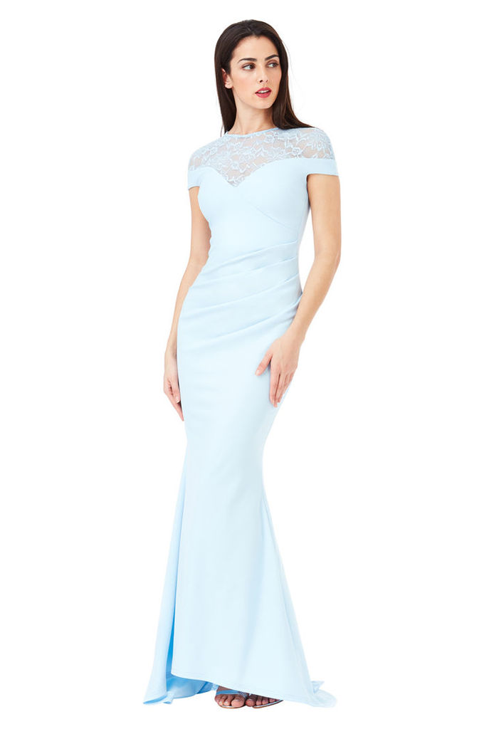 Pleated Maxi Dress with Lace Detail - Powderblue