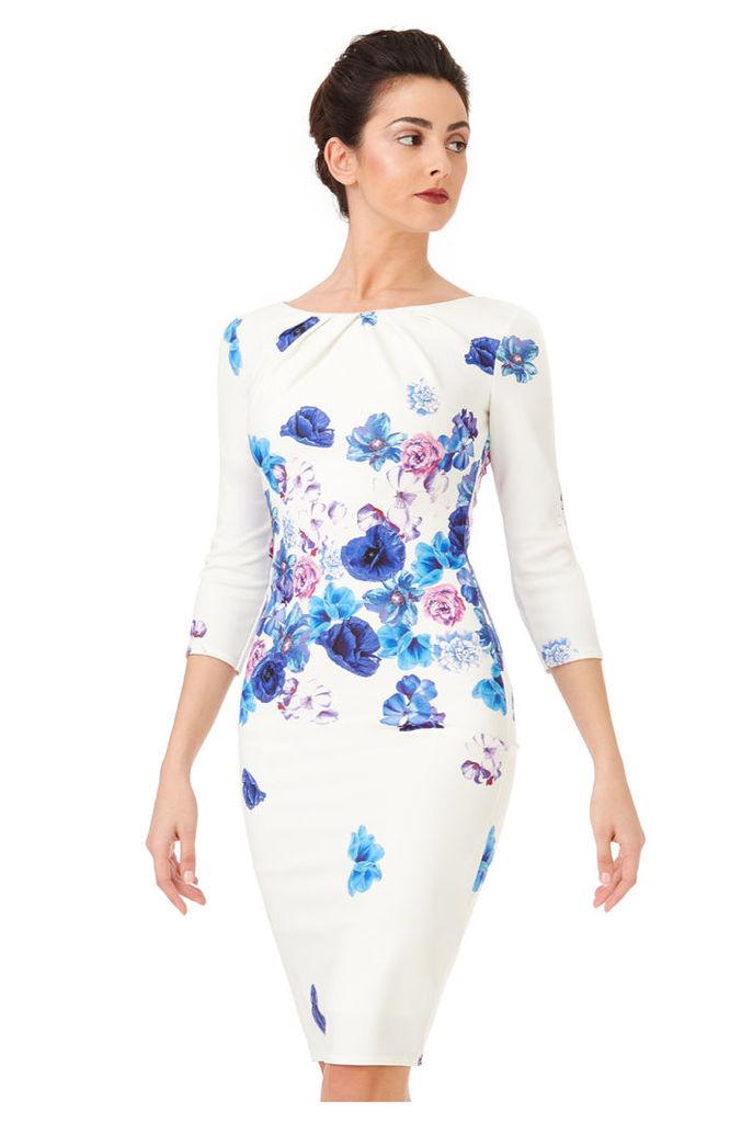 Three Quarter Sleeved Floral Print Midi Dress - Bluefloral