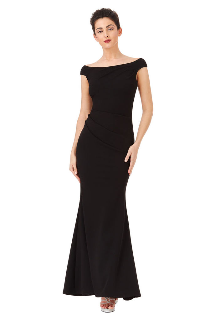 Fishtail Maxi Dress with Pleating Detail - Black