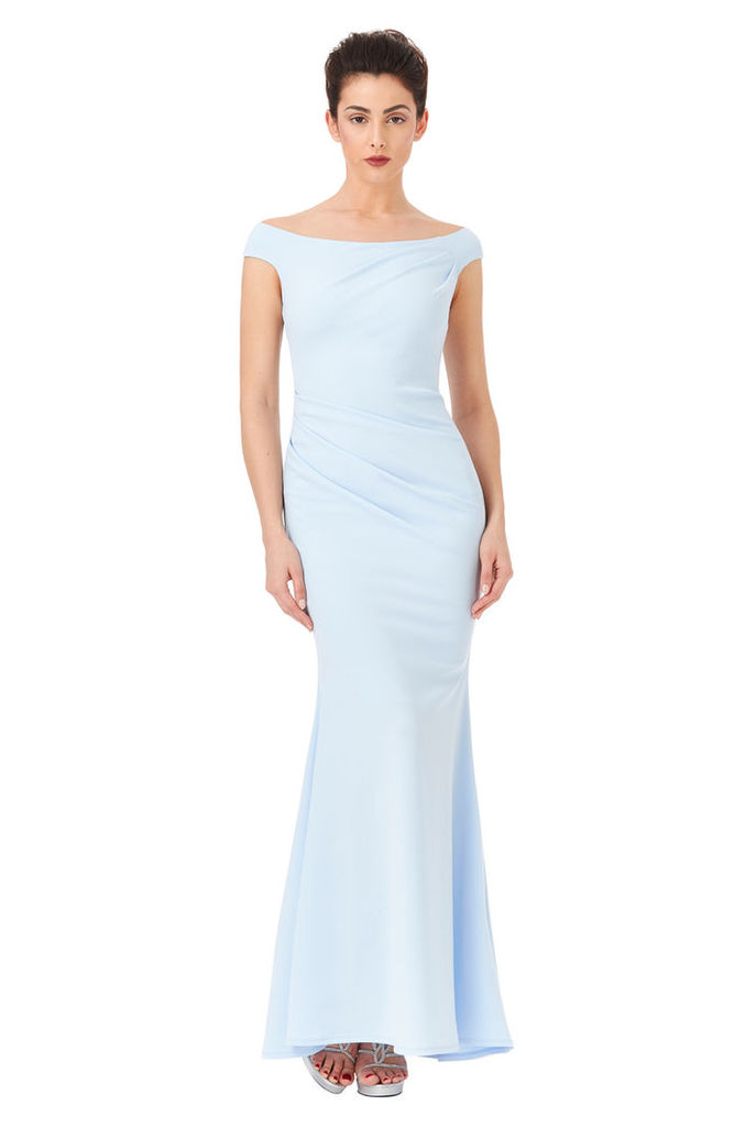 Fishtail Maxi Dress with Pleating Detail - Powderblue