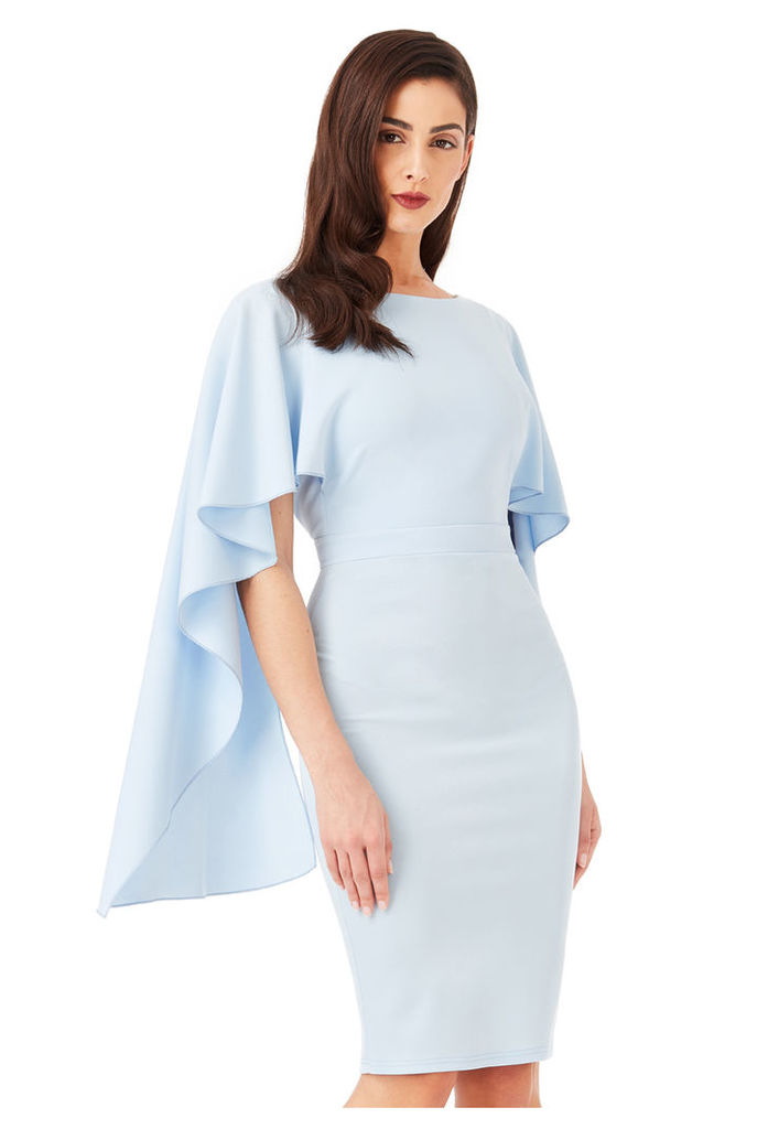 Open Back Midi Dress with Waterfall Sleeves - Powderblue