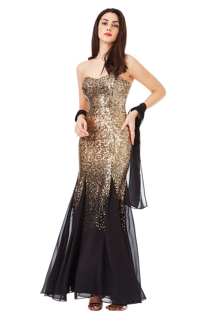 Bandeau Sequin and Chiffon Maxi Dress with Scarf - Blackgold