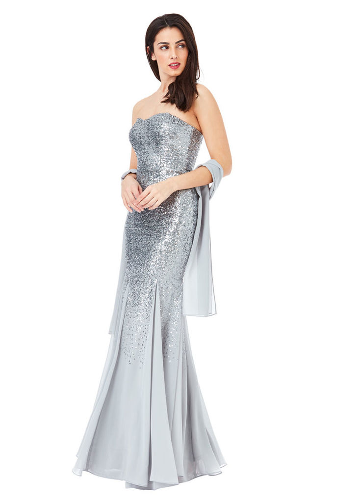 Bandeau Sequin and Chiffon Maxi Dress with Scarf - Silver