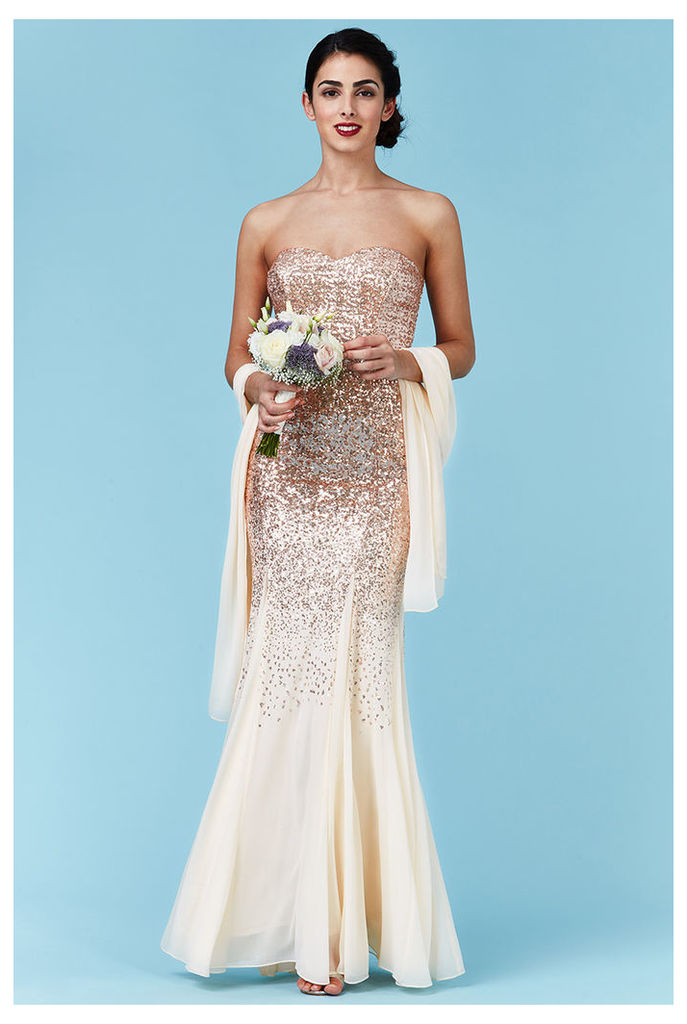 Bandeau Sequin and Chiffon Maxi Dress with Scarf - Champagne