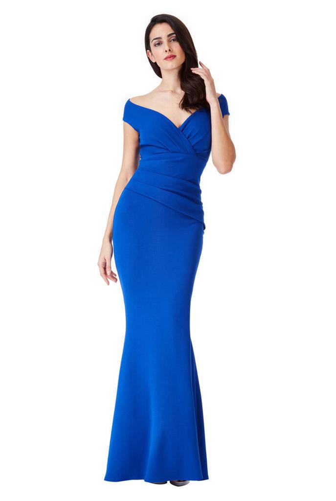 Bardot Pleated Maxi Dress - Royal Blue