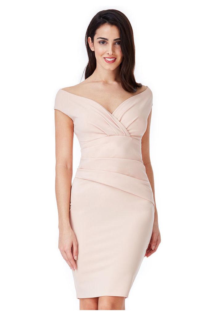 Bardot Pleated Midi Dress - Nude