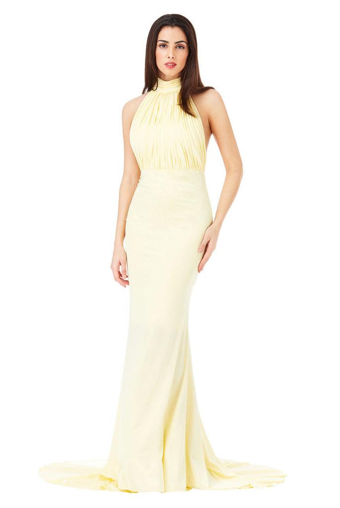 Halter Neck Fishtail Maxi Dress - Yellow