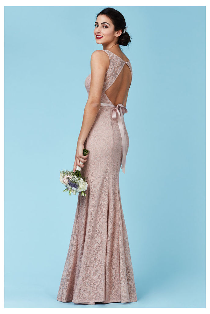 Open Back Lace Maxi Dress with Ribbon Tie - Nude
