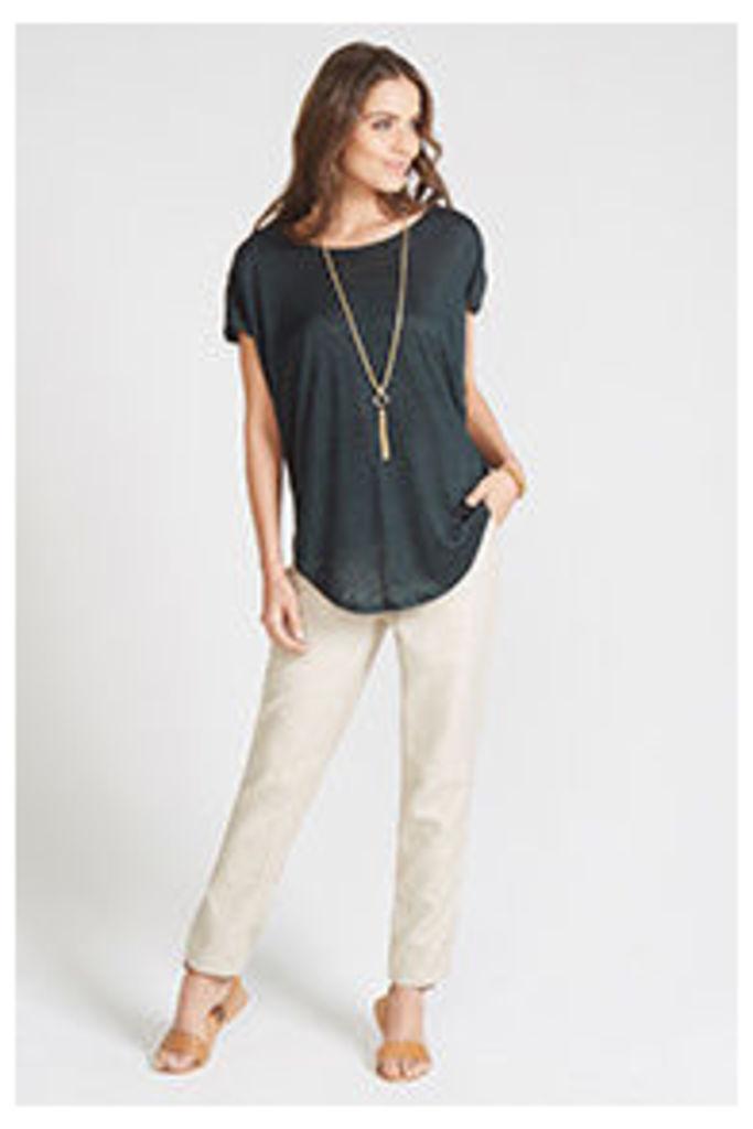 Green Zip Shoulder Knitted T-shirt