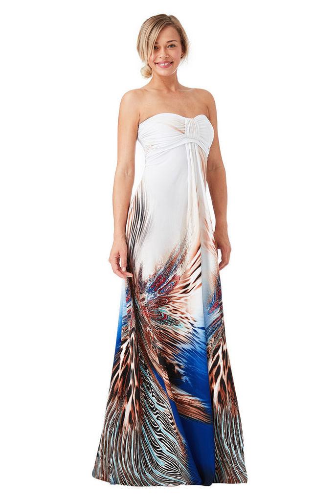 Bandeau Printed Maxi Dress - Peacock